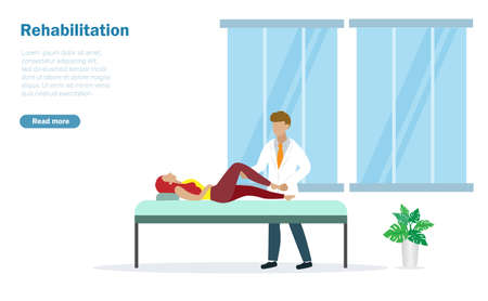 Physiotherapist, rehabilitation doctor diagnose patient legs on therapy bed at hospital. Rehabilitation, physiotherapy and medical healthcare  concept. Ilustracja