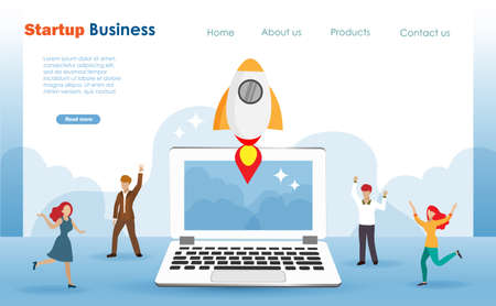 Startup business launching rocket from computer screen with happy people around.  Template and web landing page. Illustration