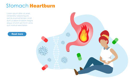 Woman suffeing from heartburn stomache pain or gastric ulcers with diseases and medical pills background. Idea for medical care and health insurance concept.