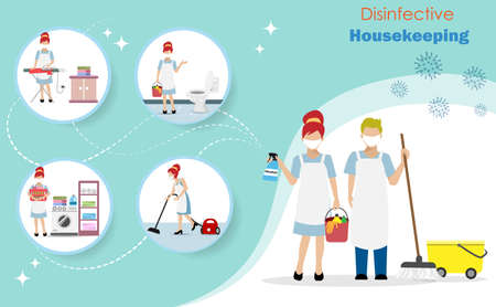 Disinfective housekeeping service , cleaning team holding alcohol spraying to protect from COVID-19 coronavirus with infographics of household chores. Idea for disinfective cleaning service. Illustration
