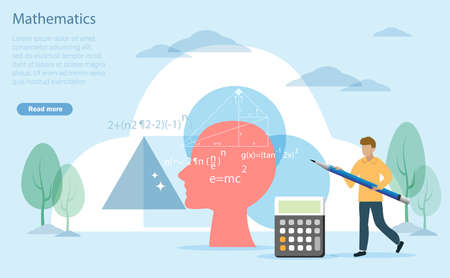 Mathematic, calculus and Arithmetic knowledge education concept. Man holding pencil calculating math problem with human brain and cubic shapes background. Vector Illustration.