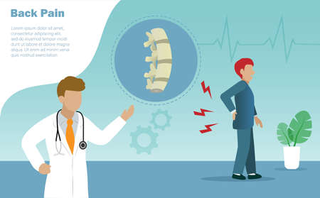 Orthopedic doctor diagnosis patient spine bones caused back pain. Idea for medical healthcare and health insurace concept Illustration