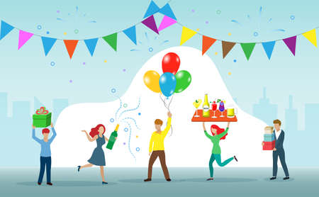 People celebrating festive party with champagne and balloons in happy manner. Idea for special occasion, new year holidays, season greetings or cocktails party.
