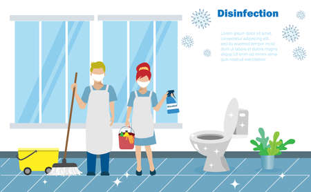 Disinfective housekeeping service , cleaning team holding alcohol spraying on toilets. Idea for disinfective cleaning to protect from COVID-19 coronavirus pandemic.