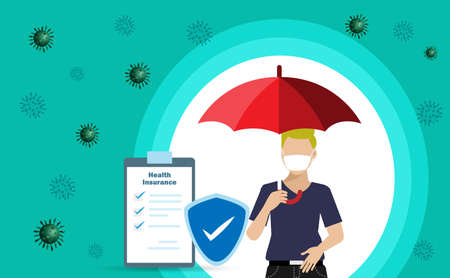 Health and medical insurance protection from Covid-19 coronavirus pandemic. Man holding umbrella with insurance policy and shield. Vector Illustration.