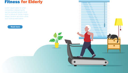 Senior man exercising on treadmill running at home.  Idea for fitness, healthy lifestyle for elderly people.