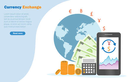 Currency exchange, financial and banking business. Making profit on currency exchange converter from online smartphone with calculater and global world background.