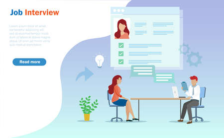 Businessman interview young woman for Job vacancy position. Idea for job hiring and recruitment concept. Vector Illustration.