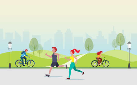 People jogging, cycling, exercising outdoor activities at public park. Idea for fitness, people healthy lifestyle in big city. Illustration