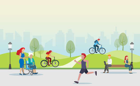People jogging, cycling, exercising and relaxing at park. Idea for people lifestyle for healthy life in big city.
