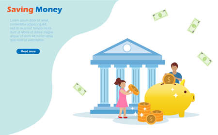 Kids saving money, gold coins on piggy bank. Long term investment fund and financial preparation for children concept. Illustration
