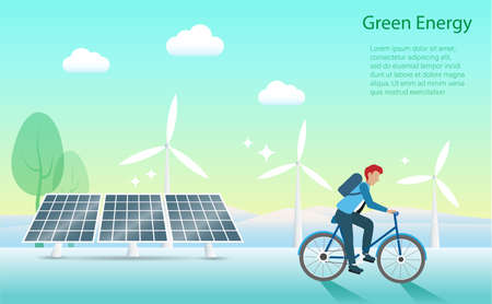 Man riding bicycle with solar panels and wind turbines background. Renewable Electric power production, green and clean energy resources to nature and environment. Vector.  Illustration