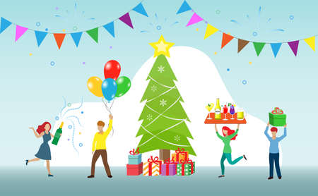 Christmas and new year celebration party, season greetings with champagne and balloons and Christmas tree. Idea for special occasion, holidays, or cocktails party. Illustration