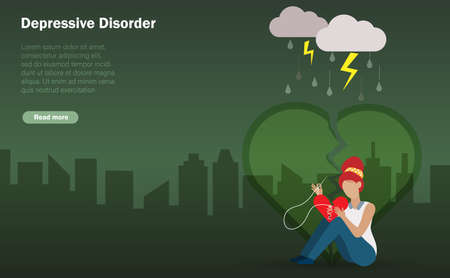 Sad and lonely woman sufferfing from depressive disorder trying to stitch her broken heart. Stress emotion, depression and mental health concept.