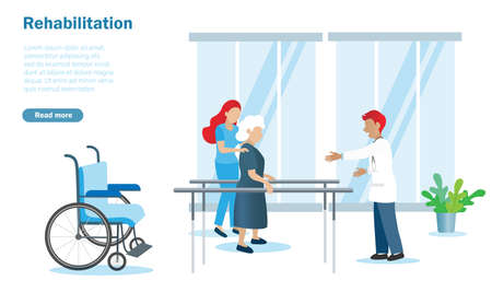 Rehabilitation and physiotherapy for senior, elderly, disabled patient. Doctor take care of old woman to walk on parallel bars. Idea for healthcare and medical service fo senior or pensioner people.