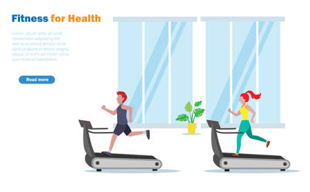 People exercising on treadmill running at fitness gym.  Idea for fitness, people healthy lifestyle. Illustration
