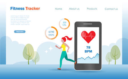 Healthy woman jogging with smart phone and watch tracking heart rate and running distances. Landing page and website, vector illustration.