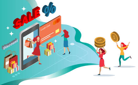 Women enjoy online shopping during sale and discount promotion with credit card on smart phone. Customer more convenient to arrange payment on internet banking. Financial technology concept.Isometric.