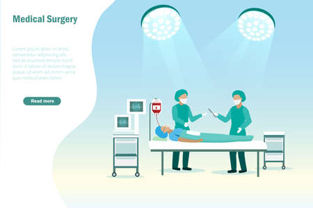 Surgery process. Doctor team operating patient in surgical room. Medical and health care concept.