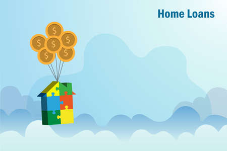 Home loans, mortgage, real estate, property investment and buying home concept. Jigsaw puzzle in house shape hanging with gold coins balloons in blue sky. Financial and banking.