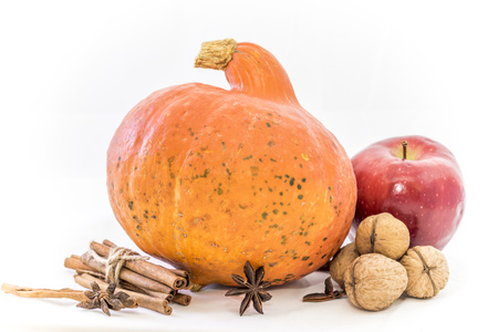 Autumn cucurbita with walnut and apple, decorated with a cinnamon sticks 版權商用圖片