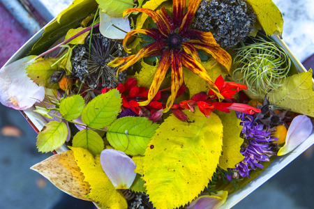 Autumn colorful flowers and yellow leaves collected in one box