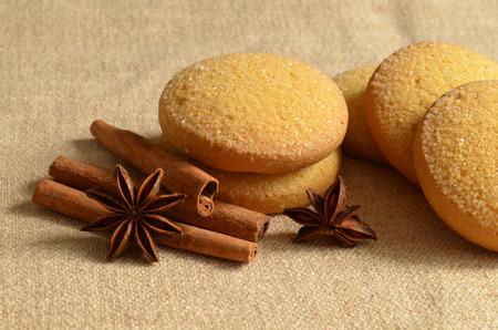 Christmas still life wtih cookies and cinnamon