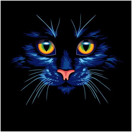 明るい目の暗い青猫  イラスト・ベクター素材