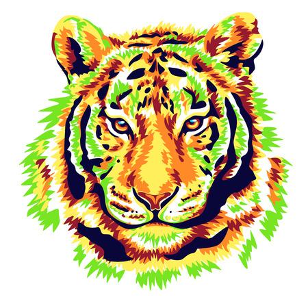 agressive: Green tiger illustration vector