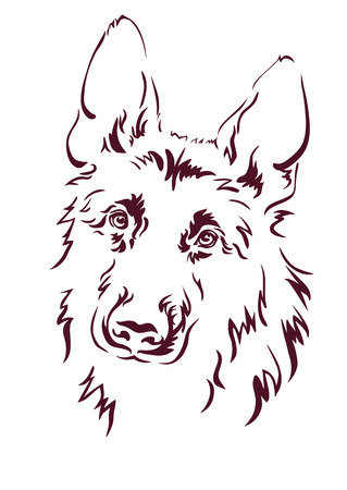 head of animal: German Shepherd vector illustration
