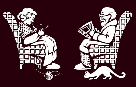 老婦人と男は、残りを持っています。  イラスト・ベクター素材