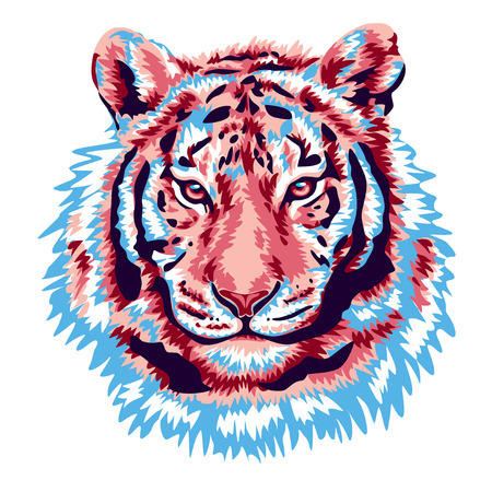 bengal fire: Pink tiger head vector illustration