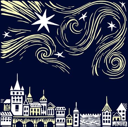 夜の町のベクトル図