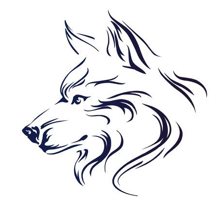 늑대 머리 벡터 일러스트 레이 션 스톡 콘텐츠 - 43839108
