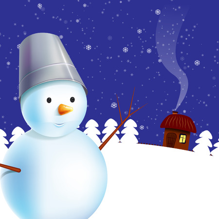 Winter illustration with snowman