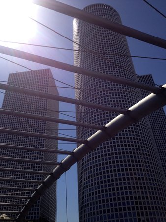 filming point of view: Azrieli Center is a complex of skyscrapers in Tel Aviv - hotel, shopping mall, business center.