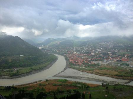 confluence: Confluence of Aragvi and Kura rivers in Mtskheta, Georgia