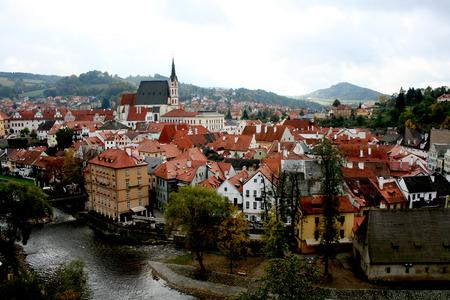 czech culture: Cesky Krumlov. View of the old Bohemian city Cesky Krumlov Stock Photo