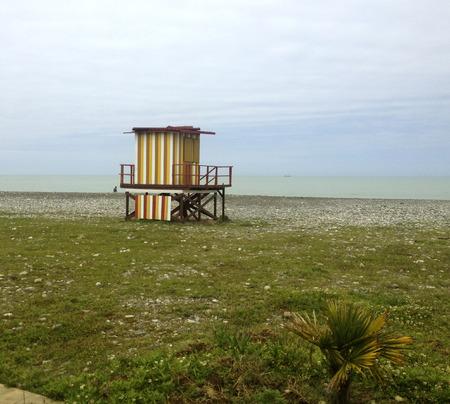 baywatch: Baywatch wooden beach tower in Black Sea cost in Batumi Georgia Stock Photo