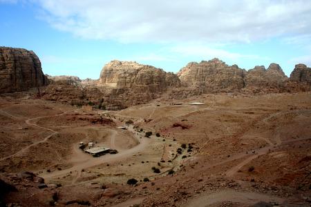 petra  jordan: Rocky desert landscape of Petra, Jordan Stock Photo