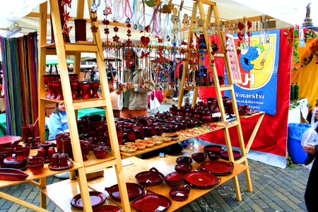 budejovice: traditional Czech symbols, gifts and souvenirs at the fair in the centre of Historic Ceske Budejovice.