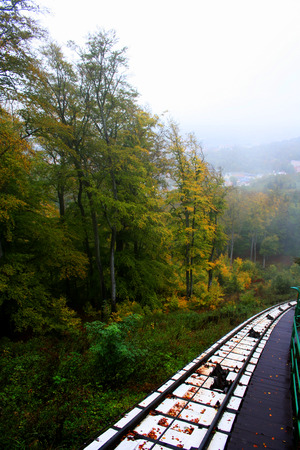 karlovy vary: An old railroad track runs through a brilliantly colored autumn woods in Karlovy Vary, Czech Republic Stock Photo
