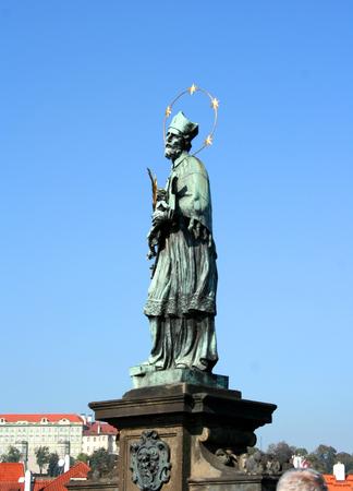 czech culture: Nepomuk, Charles Bridge, Prague, Czech Republic Stock Photo