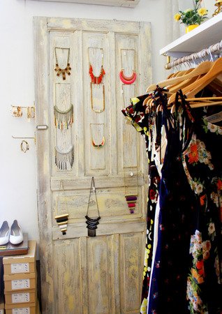 messy clothes: Dressing closet full of dresses and accessorizes