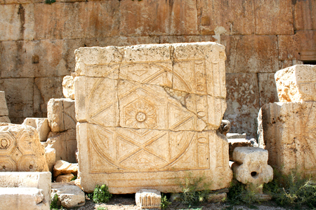 heliopolis: Stone at Baalbek, Lebanon, Middle East. Baalbek, Lebanon, Middle East - is a town in the Beqaa Valley of Lebanon. Known as Heliopolis during the period of Roman rule, it was one of the largest sanctuaries in the empire and contains some of the best preser Stock Photo
