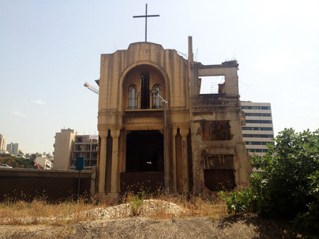beirut lebanon: Church, Beirut, Lebanon. Building of Saint Vincent Church in the downtown area of Beirut destroyed by bombing Stock Photo