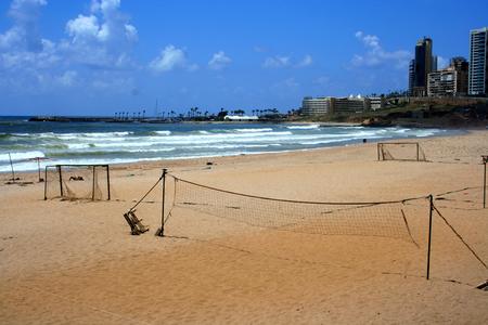 lebanon beach: Ramlet al-Baida Beach, Beirut, Lebanon. Public beach in Beirut, Lebanon. Stock Photo