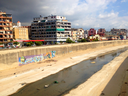 emptying: General view of Bourj Hammoud district and the adjacent Beirut river