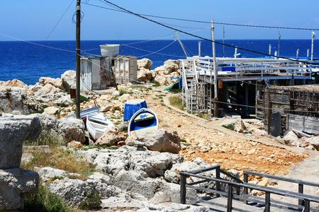 lebanon beach: Old port on the Rocks with the sea in Enfeh, Tripoli, Lebanon Stock Photo