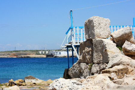 lebanon beach: Old port on the Rocks with the sea in the background placed in Enfeh, Tripoli, Lebanon